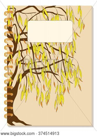 Cover Design With Drawing Foliage Willow Tree, Blank Space, Beige Backdrop For Tutorial Cover, Schoo