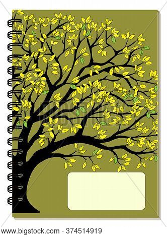 Cover Design With Drawing Yellow Foliage Tree, Blank Space, Green Backdrop For Tutorial Cover, Schoo