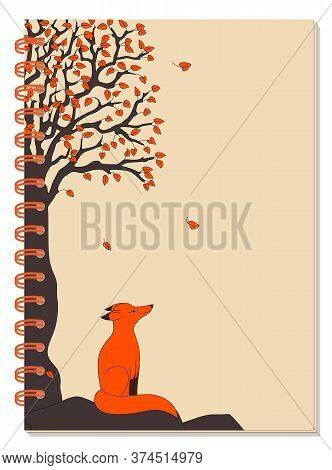 Cover Design With Drawing Black Tree, Red Leaves And Cartoon Red Fox For Tutorial Cover, School Note