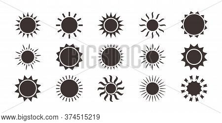 Sun Icons, Summer Set. Black Silhouettes, Different Shapes Isolated On White Background. Vector Coll