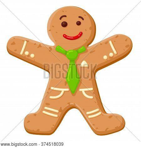 Christmas Oatmeal Cookie In Shape Of Smiling Human. Gingerbread Man Decorated With Colored Icing.