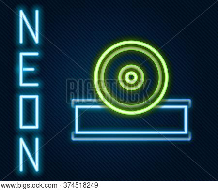 Glowing Neon Line Otolaryngological Head Reflector Icon Isolated On Black Background. Equipment For