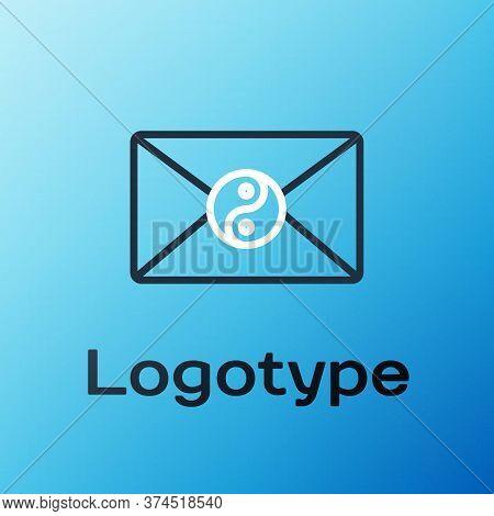 Line Yin Yang And Envelope Icon Isolated On Blue Background. Symbol Of Harmony And Balance. Colorful