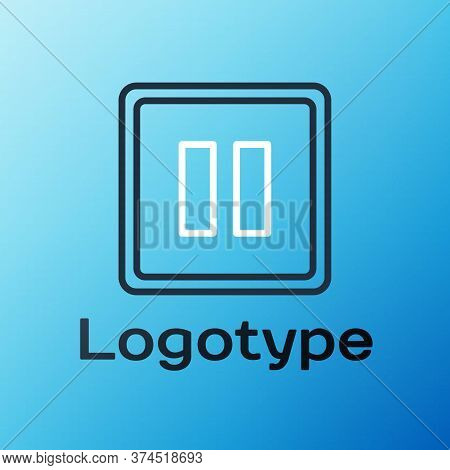 Line Pause Button Icon Isolated On Blue Background. Colorful Outline Concept. Vector Illustration