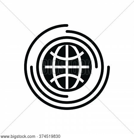 Black Solid Icon For Global Universal Environment Globalization Worldwide