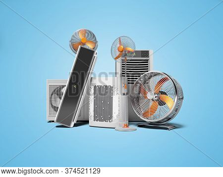 3d Rendering Concept Orange Fans Air Conditioners And Portable Air Conditioners Blue Background With