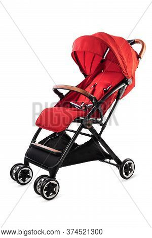 Red Pram Ready For A Summer Walk  Isolated On White