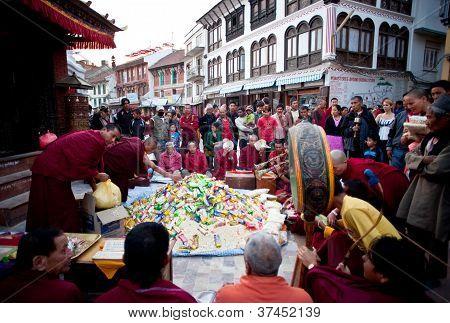 Puja ceremony in Boudhanath, Nepal