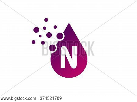 Aqua Logo. Spa Therapy Emblem. Letter N Like A Drop Of Water. Identity. Emblem For Cosmetics Or Clot