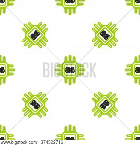 Line Computer Processor With Microcircuits Cpu Icon Isolated Seamless Pattern On White Background. C