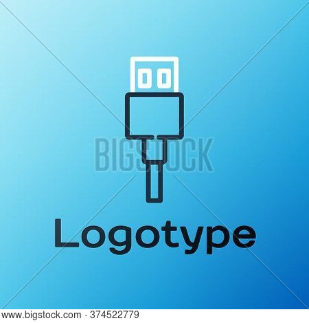 Line Usb Cable Cord Icon Isolated On Blue Background. Connectors And Sockets For Pc And Mobile Devic