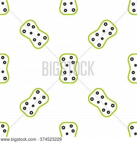 Line Sponge With Bubbles Icon Isolated Seamless Pattern On White Background. Wisp Of Bast For Washin