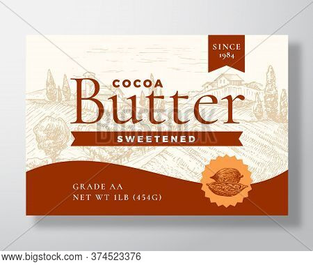 Sweetened Cocoa Butter Dairy Label Template. Abstract Vector Packaging Design Layout. Modern Typogra