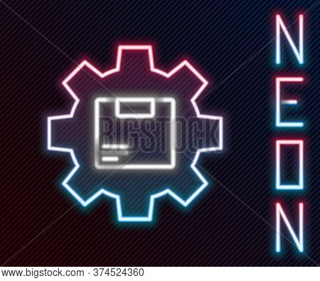 Glowing Neon Line Gear Wheel With Package Box Icon Isolated On Black Background. Box, Package, Parce