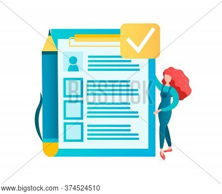 Signing A Contract, Filling Out A Questionnaire, Test Or Agreement Concept Vector Illustration.