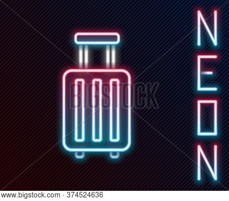 Glowing Neon Line Suitcase For Travel Icon Isolated On Black Background. Traveling Baggage Sign. Tra