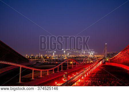 Abu Dhabi, Uae - May 5, 2020: Entertainment Center Ferrari World At Yas Island In Abu Dhabi In The U