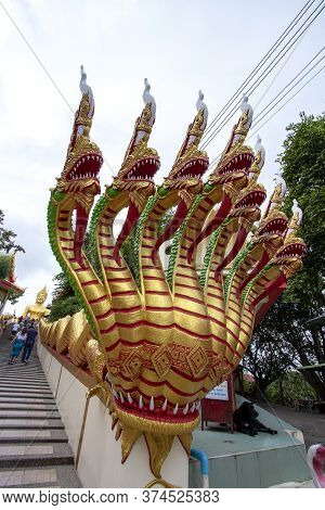 Big Buddha Temple Has A Large Golden Buddha Statue On Top Of The Hill In Chonburi Province In Thaila