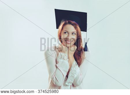 Portrait Closeup Young Beautiful Thoughtful Graduate Graduated Student Girl Young Woman In Cap Gown