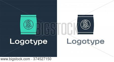 Logotype Hard Bread Chucks Crackers Icon Isolated On White Background. Logo Design Template Element.