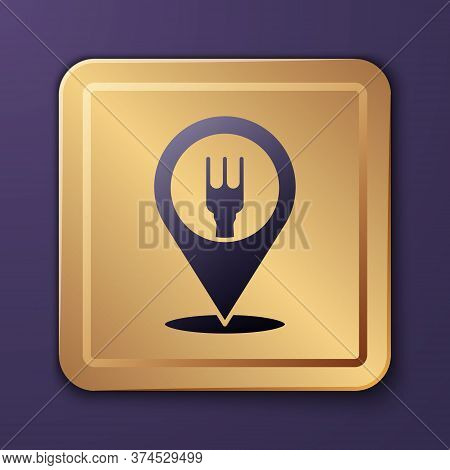 Purple Cafe And Restaurant Location Icon Isolated On Purple Background. Fork And Spoon Eatery Sign I
