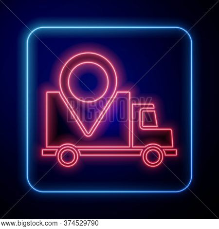 Glowing Neon Delivery Tracking Icon Isolated On Blue Background. Parcel Tracking. Vector Illustratio