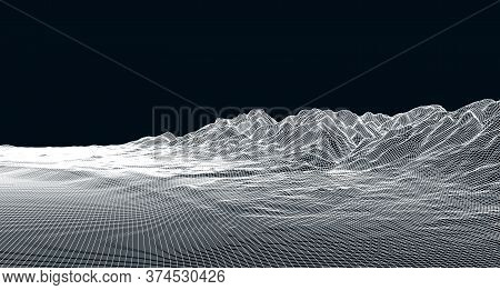 Abstract Digital Landscape With Stars On Horizon. Wireframe Landscape Background. Big Data. 80s Retr