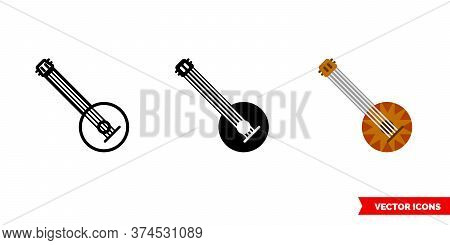Banjo Icon Of 3 Types. Isolated Vector Sign Symbol.