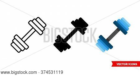 Barbel Icon Of 3 Types. Isolated Vector Sign Symbol.