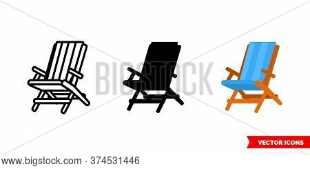 Chaise Longue Icon Of 3 Types. Isolated Vector Sign Symbol.