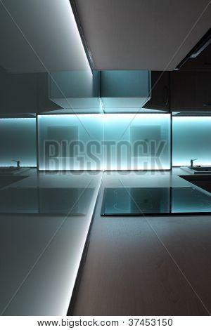 kitchen with white led lighting