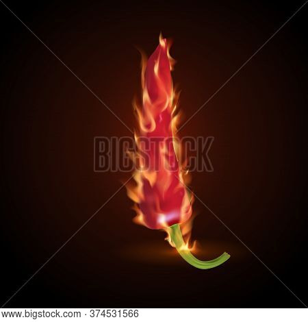 Red Burning Chili Peppers. Hot Seasoning For Food.3d Objects. Vector Realistic Illustration.