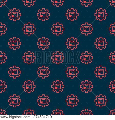 Red Line Gear Wheel With Package Box Icon Isolated Seamless Pattern On Black Background. Box, Packag