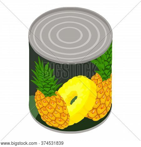 Pineapple Tin Can Icon. Isometric Of Pineapple Tin Can Vector Icon For Web Design Isolated On White