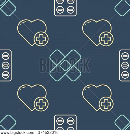 Set Line Pills In Blister Pack, Heart With A Cross And Crossed Bandage Plaster On Seamless Pattern.