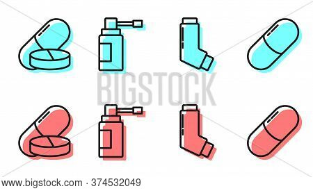 Set Line Inhaler, Medicine Pill Or Tablet, Medical Bottle With Nozzle Spray And Medicine Pill Or Tab