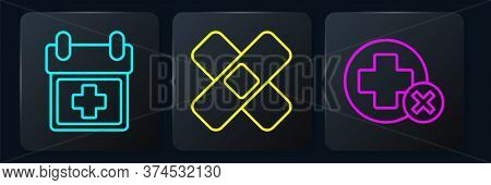 Set Line Doctor Appointment, Cross Hospital Medical And Crossed Bandage Plaster. Black Square Button
