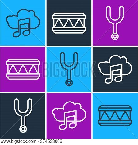 Set Line Music Streaming Service, Musical Tuning Fork And Drum Icon. Vector