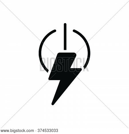 Black Solid Icon For Power Energy Voltage Capacity Electricity Charge On Off