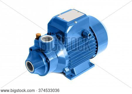 Vortex Water Pump With Electric Motor. Isolated On A White.