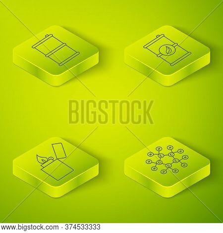 Set Isometric Bio Fuel Barrel, Lighter, Molecule Oil And Barrel Oil Icon. Vector
