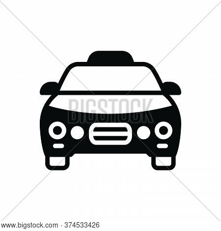 Black Solid Icon For Taxi Cab Automobile Transportation Vehicle Rental Passenger