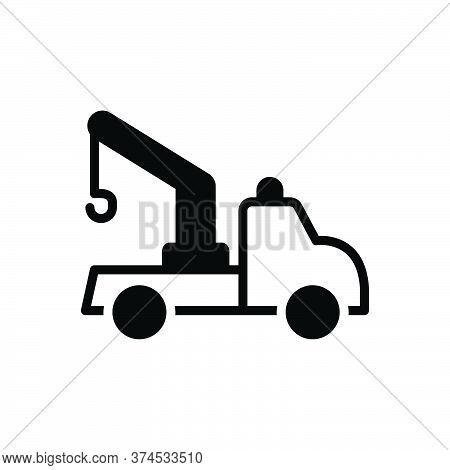 Black Solid Icon For Tow-truck Tow Truck Transportation Carrier Crane