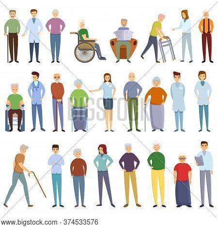 Nursing Home Icons Set. Cartoon Set Of Nursing Home Vector Icons For Web Design