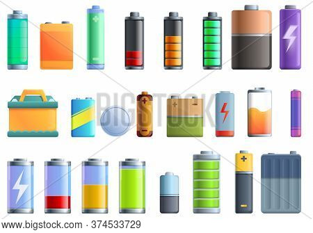 Battery Icons Set. Cartoon Set Of Battery Vector Icons For Web Design