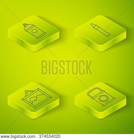 Set Isometric Wax Crayons For Drawing, Picture Landscape, Paint Bucket And Paint Spray Can Icon. Vec