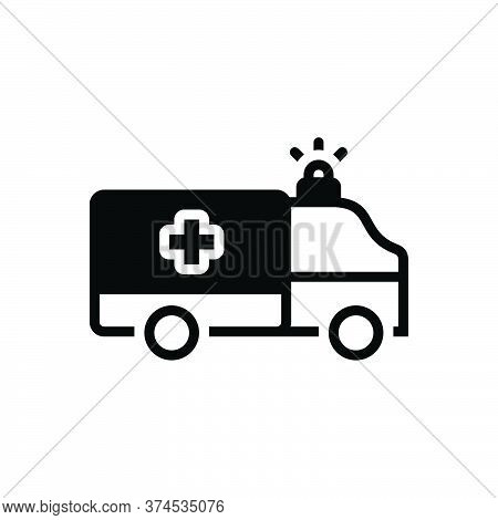 Black Solid Icon For Paramedic Ambulance  Emergency Medical Transportation Equipment