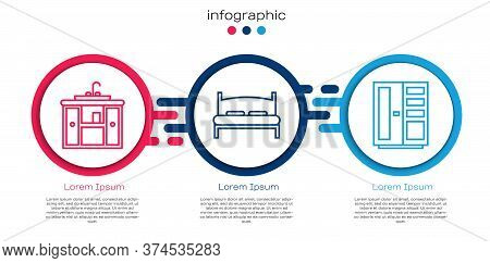 Set Line Washbasin Cabinet With Tap, Big Bed And Wardrobe. Business Infographic Template. Vector
