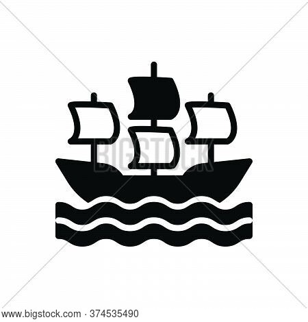 Black Solid Icon For Sailing-ship Sailing Ship Sailboat Transportation Vintage Wave