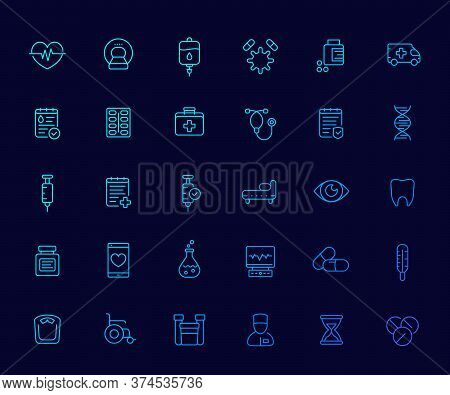 Medical And Health Care Icons Set, Insurance, Pills, Vaccine, Ct Scan, Ecg, Iv Drip, Blood Test, Lin